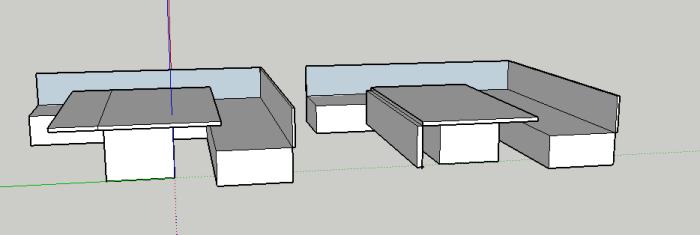carré table pousée et fermée